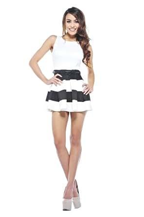 AX Paris Women's Stripe Contrast Skater Dress