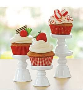 PORCELAIN CUPCAKE/MINI TREAT PEDESTAL STANDS - SET OF 4