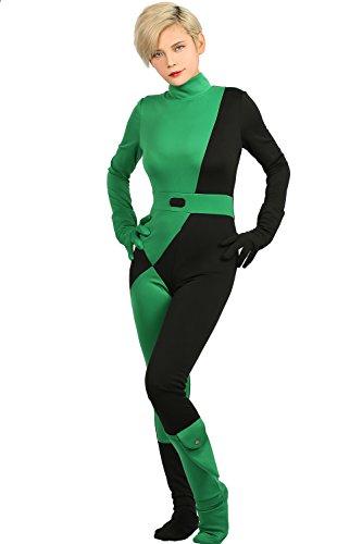 (Xcoser Kim Possible Shego Jumpsuit Deluxe Cosplay Costume Women)