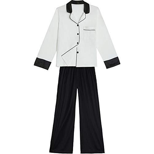 Larga En Casa Seda Mmllse Cardigan Dos De Pijamas Piezas Manga Pantalones Algodón Ocio Black v1InazIwq