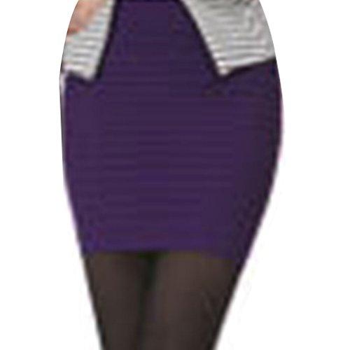 Oudan Jupe Femme Moulante Taille Haute Mini Jupe Retro A-Line Jupe Courte Package Hanche Violet