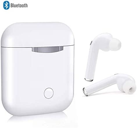Bluetooth Headset Wireless Earbuds Sweatproof Sports Headphones with Charging Case Mini Size HD Stereo in-Ear Noise Canceling Earphones with Mic for Phone iOyS Android Smart Phones