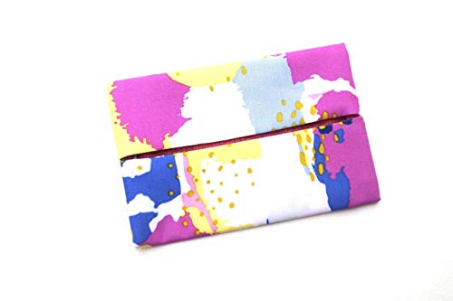 Blue and Pink Fabric Pocket Travel Tissue Holder in Painting Pattern