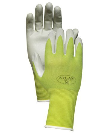 Atlas NT370 Nitrile Garden and Work Gloves, Green Apple, Medium