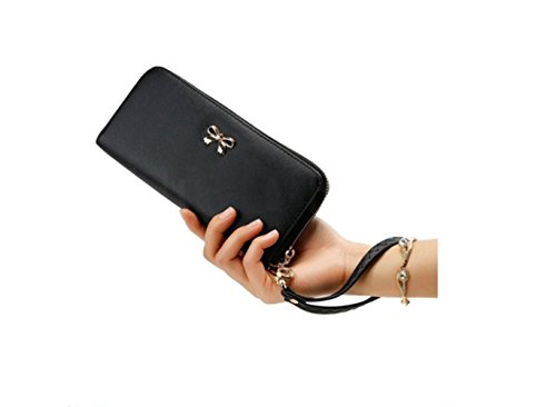Tie Bag Wrist A Wallet Zipper Clutch Strap Holder Blocking Long Card Iconic Bow Leather With Black Women FwqnpEPf6