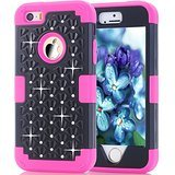 iPhone SE Case, Speedup Diamond Studded Crystal Rhinestone 3 in 1 Bling Hybrid Shockproof Cover Silicone and Hard PC Case For Apple iPhone SE (2016) & iPhone 5S / 5 (2013) (Black Rose Red)]()