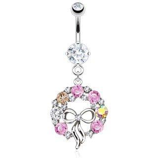 piercing nombril couronne avec noeud papillon strass rose et blanc