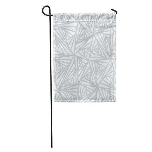 Semtomn Garden Flag Gray Pattern Abstract Line Geometric Light White and Grey Winter Home Yard House Decor Barnner Outdoor Stand 12x18 Inches Flag
