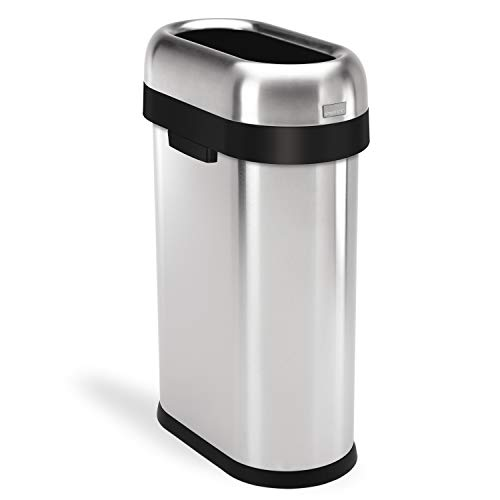 - simplehuman 50 Liter / 13.2 Gallon Slim Open Top Trash Can, Commercial Grade, Heavy Gauge Brushed Stainless Steel