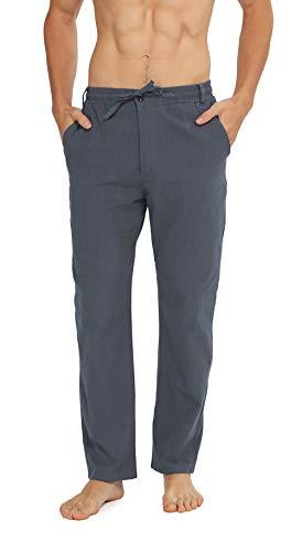 WULFUL Mens Drawstring Casual Beach Trousers Lightweight Linen Summer Pants Dark Gray