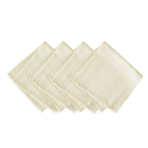 Newbridge Satin Stripe Weave No-Iron Soil Resistant Fabric Tablecloths 4 Piece Napkin Set, Ivory