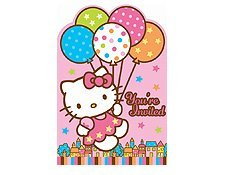 - Hello Kitty 'Balloon Dream' Invitations w/ Envelopes and Stickers (8ct)