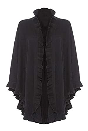 100% Lambswool Frilly Cape Wrap, Black