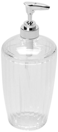 Carnation Home Fashions Ribbed Acrylic Lotion Pump, Clear