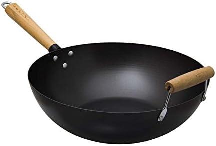 Regent Traditional Oriental Chef Carbon Steel Wok with Detailed Wooden Handle & Wooden Helper Handle