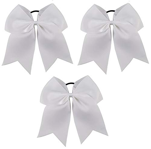 Kenz Laurenz Cheer Bows White Cheerleading Softball - Gifts for Girls and Women Team Bow with Ponytail Holder Complete Your Cheerleader Outfit Uniform Strong Hair Ties Bands Elastics -
