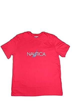 Nautica Mens Loungewear Lightweight T-Shirt Red (Medium)