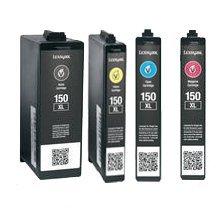 Refurbished / Compatible LEXMARK 150XL INK / INKJET Cartridge Set Black Cyan Yellow (Refurbished Inkjet)