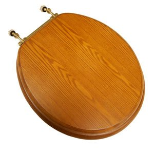 Toilet Polished Brass Hinges Seat (Decorative Front Wood Round Toilet Seat Hinge Finish: Polished Brass, Seat Finish: Light Oak)