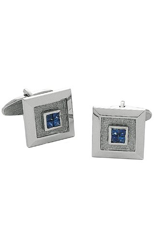 14K White Gold Square Cufflinks With 4 Princess Cut Sapphires In Center-86292 - Sapphire White Gold Cufflinks