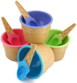 4 Ice cream woofers de vasos para helado con cubiertos de cucharas de colores Pastel