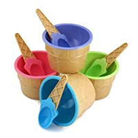 4 Ice cream Cone Pattern Ice Cream Bowls with Matching Spoons Pastel Colours by Mister Chef