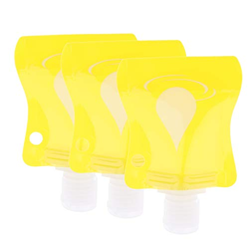 Prettyia 3pcs Refillable Empty Squeeze Pouch Shampoo Cleaner Shower Gel Body Lotion Squeezable Bag Bottle - Yellow