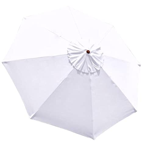 Beau White Patio Umbrella Canopy Replacement For 9 Feet 8 Ribs Sun Shading  Umbrella