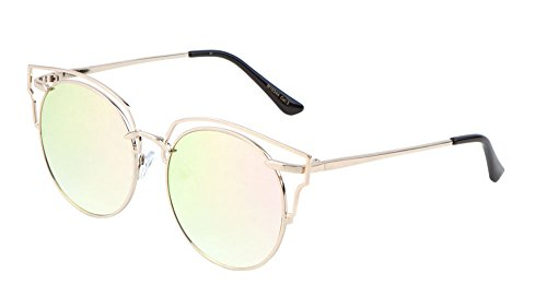 Glamour Wireframe Round Sunglasses with Outline Design Trending Fashion Eyewear (Pink, - Trending Eyewear