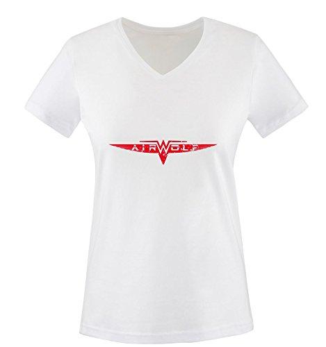 Air Camiseta cortas Blanco wolf rojo Mujer Blanco Mangas 1drdxf