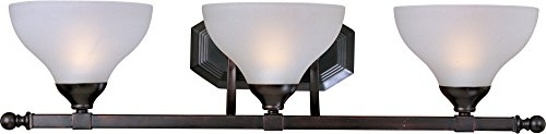 Maxim 21273FTOI Contour 3-Light Bath Vanity, Oil Rubbed Bronze Finish, Frosted Glass, MB Incandescent Bulb , 60W Max., Dry Safety Rating, Standard Dimmable, Glass Shade Material, 2688 Rated Lumens