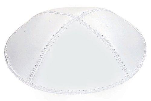 Yarmulkah/Kippah/Skullcap Pure White Shiny Leather Regular Small (Millenium Leather)