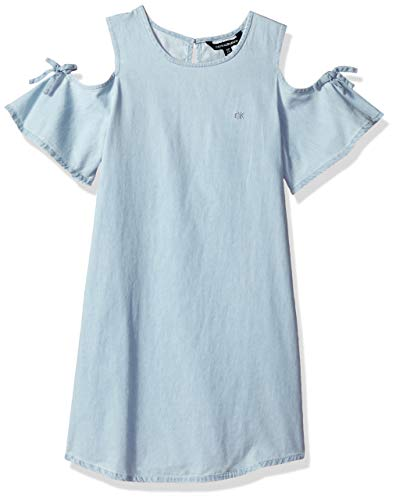 Calvin Klein Big Girls' Cold Shoulder Denim Dress, Chambray, L12/14