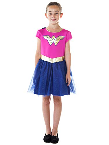 DC Comics Girls Costume Dress Cape Sparkle Tulle Skirt (Wonder Woman, XS)]()
