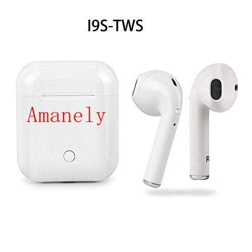 Amanely I9S TWS Dual Bluetooth Earbuds Wireless Noise Cancelling Sports Stereo Earphone Headphones with Mic and Charge Case for iPhone Samsung iPad