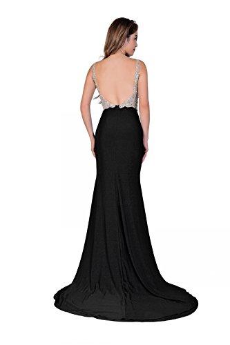 Miss Chics Women Side Slit V-neck Backless Beaded Prom Dresses Evening Dresses(10,Black) by Miss Chics (Image #1)