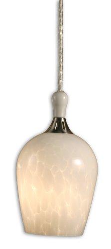 Checkolite Pendant Light (Checkolite White Art One-Light  Pendant, Brushed Nickel and Satin Nickel with Goblet Globe #3067-71)