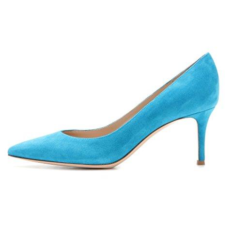 Fermé Bout Soiree Pointu Classique Chaussures Kitten Femme heel 6 Cm Bleu Edefs Escarpins Shoes Bureau xRn0wqZazg