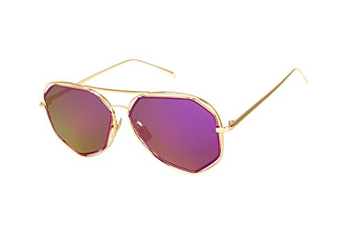0a8bc137c469b SojoS Fashion Metal Frame Flat Mirrored Lens Sunglasses SJ1004 With Gold  Frame Purple Lens