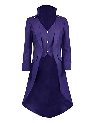 Mens Gothic Tailcoat Jacket Black Steampunk Victorian Long Coat Halloween Costume (US Men-XL, Purple)