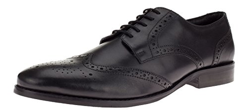 Gino Valentino Mens Robe En Cuir Chaussure À Lacets Tyson Wingtip Oxford Noir