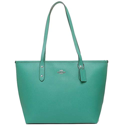 COACH CITY ZIP TOTE CROSSGRAIN LEATHER HANDBAG BLACK (SV/Green)