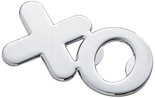 Chrome Open Heart Bottle Stopper (Kate Aspen Hugs & Kisses from Mr. & Mrs. Chrome XO Bottle Opener, Silver)