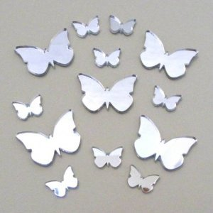 Butterfly Big Wings Mirrors Pack of 13 - Five 6cm (2.4inch) & Eight 4cm (1.5inch)