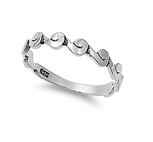 Sterling Silver Curvy Design Band Ring Size (Curvy Design Ring)