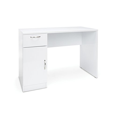 Essentials Office Desk with Storage - Single Pedestal Solid Panel Computer Desk with Drawer and Cabinet, White Workstation (ESS-1015-WHT) (White Computer Cabinet)