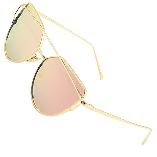 CGID Womens Modern Fashion Mirror Polarized Cat Eye Sunglasses Oversized Goggles UV400,Gold Pink