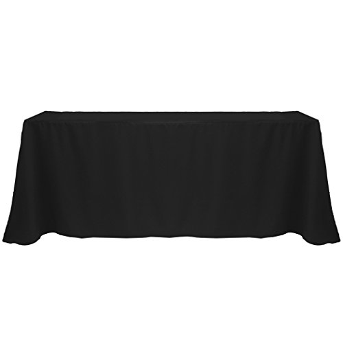 Ultimate Textile (5 Pack) 90 x 132-Inch Rectangular Polyester Linen Tablecloth with Rounded Corners - for Wedding, Restaurant or Banquet use, Black by Ultimate Textile