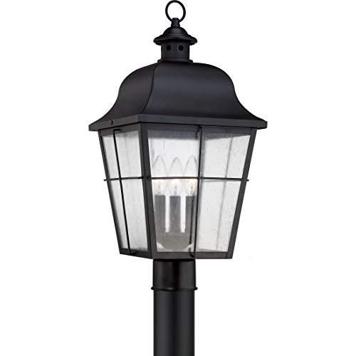 Quoizel MHE9010K Millhouse Outdoor Post Lantern Pier Mount Lighting, 3-Light, 180 Watts, Mystic Black (22
