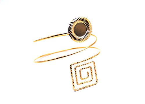 Global Huntress Bohemian Armlet Cuff Bracelet Boasting Large Medalion etched Square Upper Arm Cuff in Yellow Gold